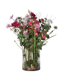Mixed Garden Flowers Arrangement In Cylindrical Glass Vase