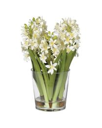 White Hyacinth Arrangement In Glass Pot Shaped Vase