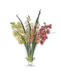 Mixed Blossom & Orchids In Elegant Glass Footed Vase