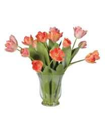 Coral Mixed Style Tulips Arranged In Glass Vase