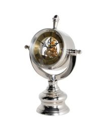 Nickel Maritime Mantle Clock With Clear Mechanism View.