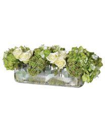 Lime/Cream Hydrangea/Rose/Seedum Arrangement In Low Oblong Glass Vase