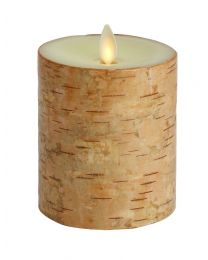 Luminara Ivory Birchwood pillar candle 10cmx10cm