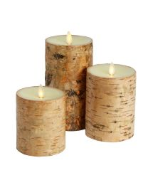 Set of Three Luminara Birchwood Wax Pillar Candles