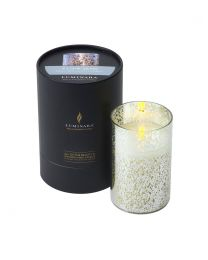 Luminara Candle in a Silver Mercury Glass Cylinder 13cmx8cm