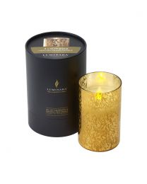 Luminara Candle in a Gold Mercury Glass Cylinder 13cmx8cm