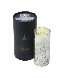 Luminara Candle in a Silver Mercury Glass Cylinder 18cmx8cm