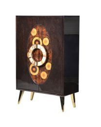 Patterned Oval Front Cabinet