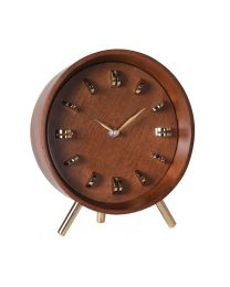 Mid Century Style Brass And Wood Clock