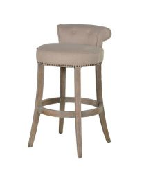Linen Bar Stool With Roll Top