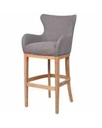 Grey Cotton Bar Stool With Ring Back