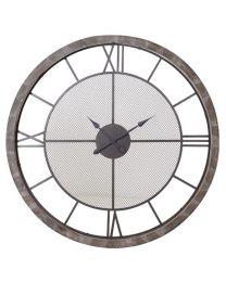 Wooden Framed Metal Wall Clock