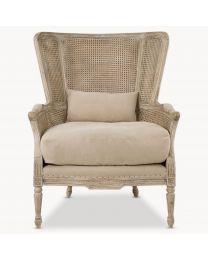 Marlborough Oak Salon Bergere Chair With Linen Cushions