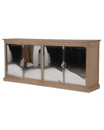 Oak/Chrome 4 Door Sideboard