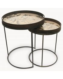 Brookby Antiqued Mirror Tray Tables Set Of 2