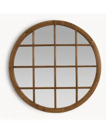 Brookby Natural Wood Round Mirror