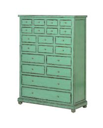 Hand Painted Distressed Green 20 Drawer Cabinet