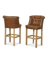Parker Barstool In Brown Cerato Italian Leather