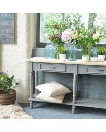 Corbridge Storm Grey 2 Drawer Console Table With Shelf