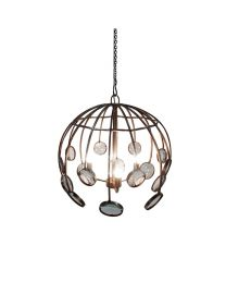 Signature Galaxy Round Magnifying Chandelier - Antique Silver Finish