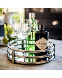 Signature Circular Gatsby Tray - Stainless Steel Base
