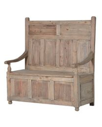 Colonial Reclaimed Pine Panelled Storage Bench