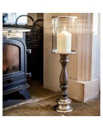 Signature Tours Small Pillar Candle Holder - Natural Grey