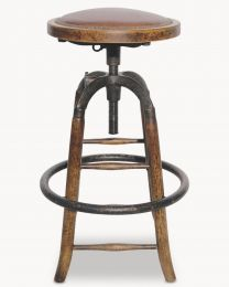 Woodcroft Leather And Metal Adjustable Bar Stool