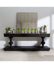 Woodcroft Balustrade Oak And Black Console Table