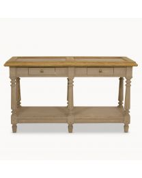 Small Grey Oak And Stone Top Console Table