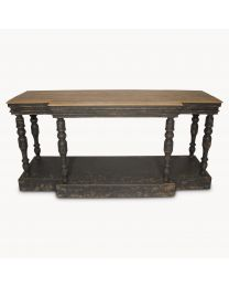 Oak Top And Distressed Black Console Table