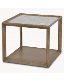 Oak And Brass Side Table With Antiqued Mirror Top