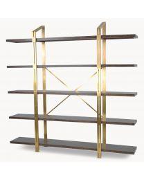 Woodcroft Oak And Brass Bookcase