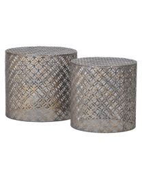 2 Artisan Style Cylindrical Iron End Tables