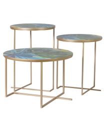 3 Tropical Leaf Print Tables