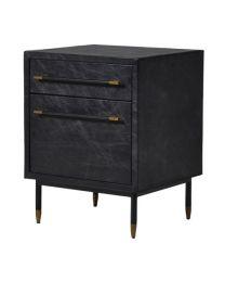 Black Leather Trunk Side Cabinet