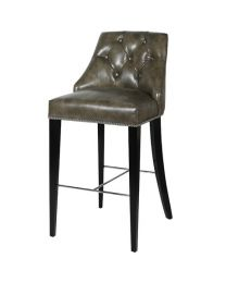 Buttoned Taupe Leather Bar Stool