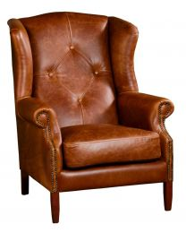 Classical Wing Armchair In Cerato Leather