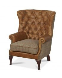 Classical Wing Wrap Armchair In Cerato Leather And Harris Tweed