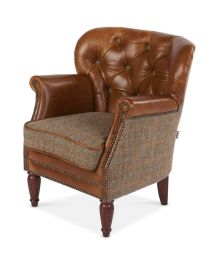 Classical Occasional Chair In Cerato Leather And Harris Tweed