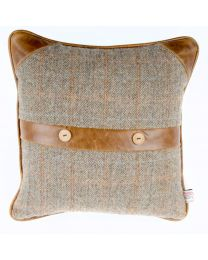 Belt And Button Cushion In Harris Tweed Gk