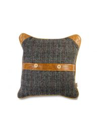 Belt And Button Cushion In Harris Tweed Un