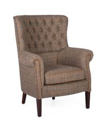 Holker Armchair In Harris Tweed Gamekeeper/Leather Buttons And Piping