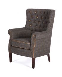Holker Armchair In Harris Tweed Uist Night/Leather Buttons And Piping