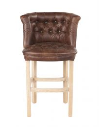Parker Barstool In Brown Cerato Italian Leather And Harris Tweed Un