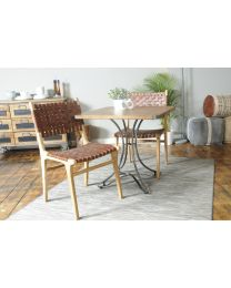 Keilder Tan Woven Leather Dining Chair