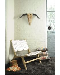 Keilder White Woven Leather Lazy Chair