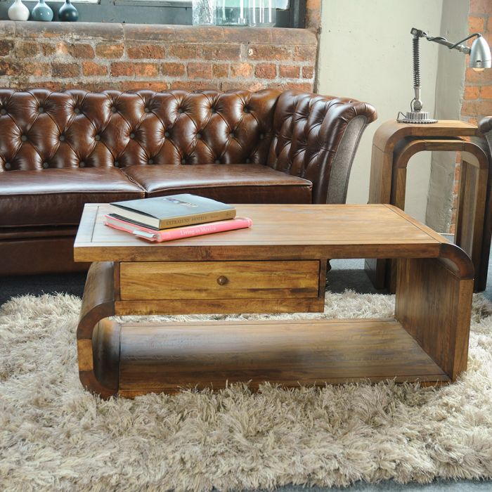 Hadston Mango Coffee Table With Drawer