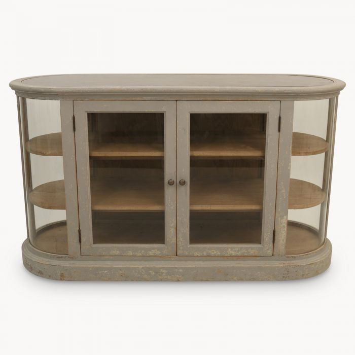 Woodcroft Colonial Grey Stone Sideboard With Glass Doors