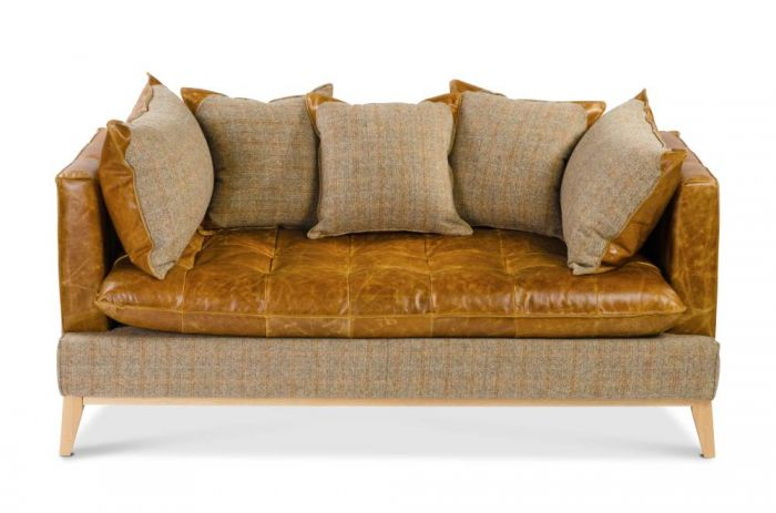 Portland 3 Seater Sofa In Harris Tweed/Cerato Leather